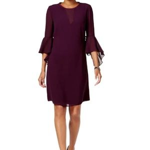 Vince Camuto Bell Sleeve Aubergine Dress